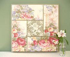 LUXURY MEMO BOARD French Memo Board/ Fabric Message Board/ Bulletin Board in Romantic  Vintage Roses and Antique Lace