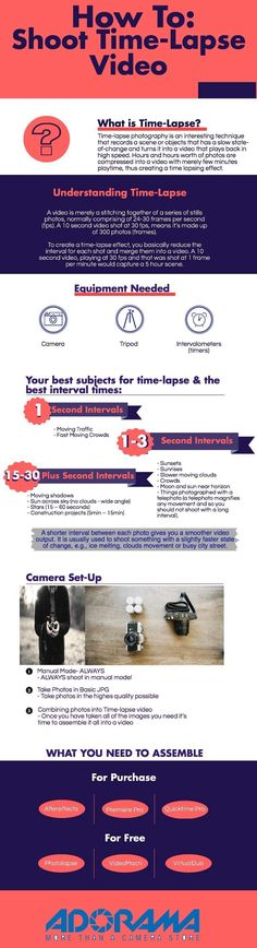 How To : Shooting Time Lapse Photography #Infograph #Adorama
