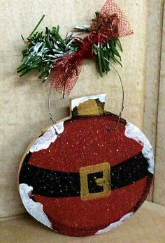 Christmas craft. Santa ornament wood craft
