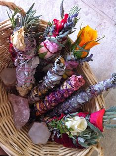 Medium healing sacred sage smudge stick with roses, lavender, rosemary.