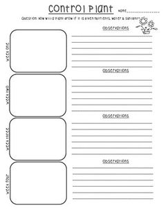 Help your students learn that plants need nutrients, water, and sunlight to survive! A great resource to help your students record and keep track of plant growth for a variety of experiments. The log includes 4 weeks of observation drawings and written explanations for:A control plant (given water, soil, and sunlight)Soil (A plant with soil removed)Water (A plant with water removed)Sunlight (A plant with water removed)Students can use these to compare how plants have changed over time when parti...