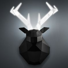 Hedlyte by CreativeSession – Geometric Polygon Deer Head Lighting