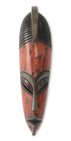 African wood mask, 'Original Warrior' by NOVICA
