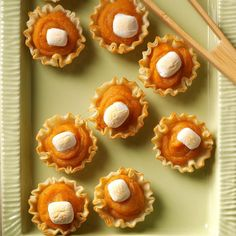 Sweet Potato Tartlets Recipe -My family can't resist sweet potatoes when they're mashed, placed in crunchy phyllo shells and topped with marshmallows. The bite-size tarts are fun to eat, too! —Marla Clark, Moriarty, New Mexico (mini party appetizers fun) Mini Party Appetizers, Potato Appetizers, Thanksgiving Appetizers, Thanksgiving Recipes, Holiday Recipes, Appetizer Recipes, Thanksgiving 2017, Holiday Meals, Christmas Appetizers