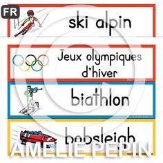 30 mots-étiquettes Fichiers PDF téléchargeables Langue: français Versions: Avec les déterminants et sans les déterminants Formats: 3 mots par page en couleurs (10 pages) et 18 mots par page en noir et blanc (2 pages) Taille des pages: 8,5 X 11 po.  Les mots illustrés sont: Jeux olympiques d'hiver, ski alpin, biathlon, bobsleigh, ski de Fond, curling, patinage artistique, ski acrobatique, hockey sur glace, luge, combiné nordique, short-track (patinage sur piste courte), skeleton, saut à sk... Kids Olympics, Winter Olympics, Bobsleigh, Skier, Illustrated Words, Core French, Winter Olympic Games, French Classroom, French Resources