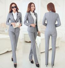 New Elegant Grey 2015 Autumn Winter Business Women Suits Jackets And Pants Formal Pantsuits Female Work Wear Office Ladies Sets(China (Mainland))