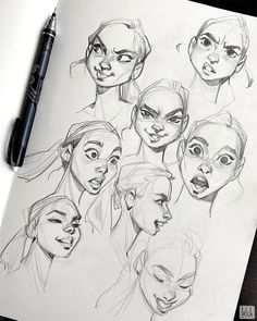 Some expression studies! Referenced from Noah Bradley's expression reference pack. Definitely want to do more of these soon and improve my… Cartoon Sketches, Cartoon Art Styles, Art Drawings Sketches, Art Illustrations, Cartoon Characters Sketch, Hand Drawings, Disney Drawings, Illustration Art, Character Design Animation