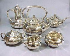 Antique 1907 Tiffany and Co Silver Tea Coffee Service Art Nouveau Set of Six Dinnerware Tableware
