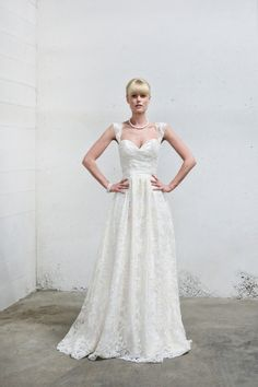 Vintage Lace Cap Sleeve Wedding Dress Fitted Bodice by AnyaDionne, $1050.00