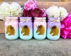 Set of 2. Unicorn mason jars. Unicorn party centerpieces. Unicorn party decor. Unicorn birthday decorations