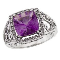 14K White Gold Amethyst Ring #amethyst #ring #jewelry #sterlingsilver #purple