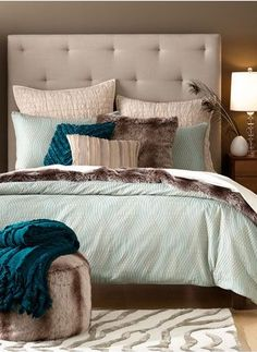 Gorgeous color palette of soft blues and lovely neutrals. No faux fur for me, but taupe is great.