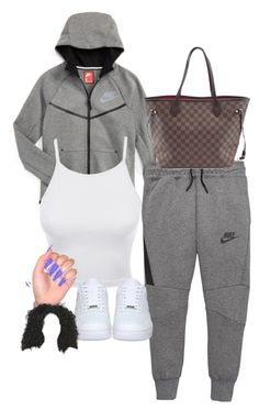 """"""""""" by baddiest-bish ❤ liked on Polyvore featuring NIKE, LE3NO and Louis Vuitton"""