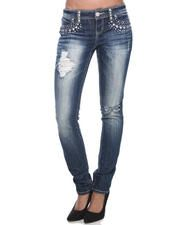 Bottoms - Studded Pockets Distressed Skinny Jean
