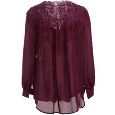 Long Sleeve Crochet Detail Blouse (WINE RED,XL) in Blouses | DressLily.com