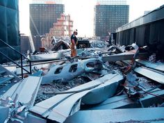 Fuselage part atop WTC5  Photograph by Gene Corley