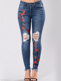Plus size 2018 jeans pants flowers embroidered trousers women stretch denim jeans pencil pants dark pantalon femme Moda Fashion, Fashion Pants, Trendy Fashion, Style Fashion, Latest Fashion, Fashion Dresses, Womens Fashion, Fashion Trends, Denim Skinny Jeans