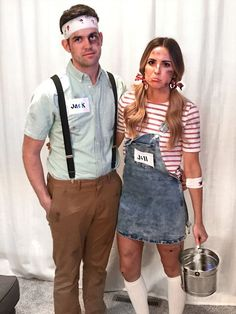 Couples Costumes: 41 Easy Ideas for Couples Halloween Costumes - Sugar & Cloth: DIY Halloween Costumes for Couples. See all the couples costume ideas here! Costume Halloween, Creative Halloween Costumes, Halloween Diy, Happy Halloween, Creative Couple Costumes, College Couple Costumes, Funny Couple Costumes, Bonnie And Clyde Halloween Costume, Couple Costume Ideas