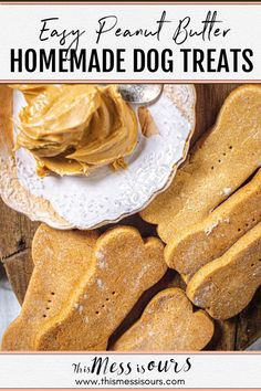 Want to spoil your fur babies?10 minute of hands on time and only 4 ingredients stand between you and your dog's new favorite treat! This peanut butter dog treat recipe is easy to make, gluten free, and full of good for your dog ingredients. #dogtreats #thismessisours Homemade Peanut Butter Dog Treats Recipe, Homemade Dog Treats, Dog Treat Recipes, Healthy Dog Treats, Dog Food Recipes, Retro Recipes, Free Recipes, Human Grade Dog Food, Can Dogs Eat Blueberries
