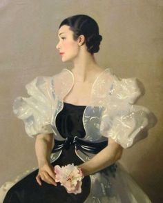 ▴ Artistic Accessories ▴ clothes, jewelry, hats in art - Archibald George Barnes (British-Canadian painter 1887-1974)
