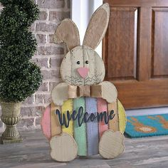 Easter Wood crafts - Wood Easter Bunny Welcome Sign Easter Projects, Easter Crafts, Easter Ideas, Hoppy Easter, Easter Bunny, Bunny Bunny, Easter Eggs, Bunnies, Spring Crafts