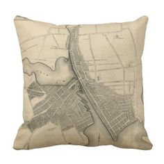 Vintage Map of Providence Rhode Island (1823) Throw Pillow
