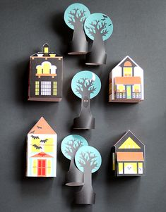 downloa your own printable haunted houses and village for Halloween. Plus, see all the printables - masks and paper dolls too! - at Smallful.com