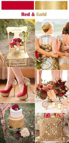 classic red and gold wedding color inspiration