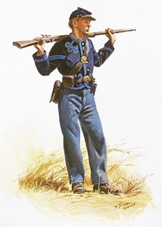Civil War: Corporal of the 76th Ohio Volunteers. Short jackets with tape trimmings like these in a number of different variations, became popular in the Western theater in the later part of the war.