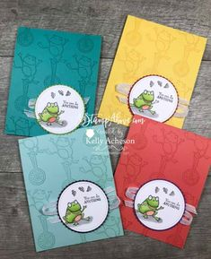 Sale-a-Bration Frog Video - Beauty karten Sale-a-Bration Frosch Video Wine Bottle Crafts, Jar Crafts, Stampin Up Karten, Kids Birthday Cards, Card Birthday, Stamping Up Cards, Creative Cards, Kids Cards, Flower Crafts