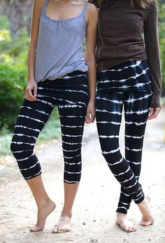 LVR Organic French Terry Leggings - Bamboo Stripes ($73)