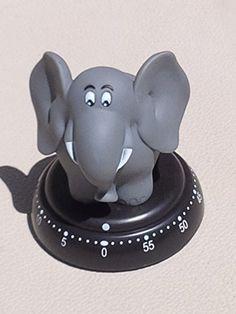 Bengt Ek Design Grey Elephant 60 Minute Kitchen Mechanical Timer CHECKYS DEALS Elephant Cushion, Grey Elephant, Elephant Stuff, Pomodoro Technique Timer, Kitchen Decor, Kitchen Stuff, Kitchen Gadgets, Egg Timer, Elephant Jewelry