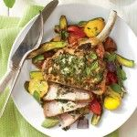 Broiled Pork Chops with Basil Butter and Summer Squash  healthy and lite Southernliving.com