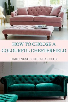 Colourful chesterfield sofas are a big new design trend and if you're having trouble choosing the right one for your home, check out these tips from British sofa experts Darlings of Chelsea to help you. Living Room Sofa Design, Living Room Designs, Living Room Furniture, Living Room Decor, Deco Baroque, Beautiful Sofas, Chesterfield Sofas, Tufted Sofa, Lounge Design