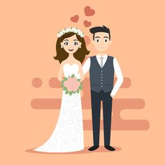 Vector illustration of young happy newlyweds bride and groom. Just married couple. Illustration for print, web. Wedding Illustration, Couple Illustration, Wedding Images, Wedding Cards, Wedding Couples, Cute Couples, Couple Clipart, Bride And Groom Silhouette, Topper