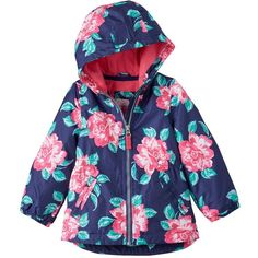 Baby Girl Carter's Floral Fleece-Lined Jacket, Size: 18 MONTHS,... (84 BRL) ❤ liked on Polyvore featuring navy flora