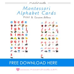 FREE Montessori Alphabet Cards with print and cursive letters from Max & Naoli Toddler Learning Activities, Montessori Activities, Alphabet Activities, Language Activities, Number Activities, Montessori Homeschool, Montessori Classroom, Abc Centers, Letter Games