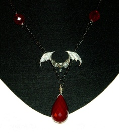 Gothic Halloween Necklace Maroon Faceted by TheCraftyPandaGirl, $30.93