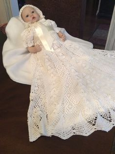 Crochet Christening Gown And Bonnet Pattern Heirloom Style in Crafts, Needlecrafts & Yarn, Crocheting & Knitting | eBay