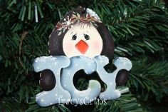 Whimsical Hand Painted Winter Blue Penguin Holiday by TracysCrtns