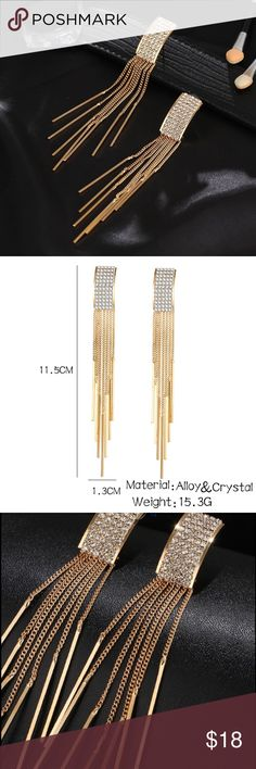 NEW! Gold Long Crystal Tassel Dangle Earrings Brand new! Gold Color Long Crystal Tassel Dangle Earrings for Women Bar Drop Earing Fashion Jewelry. Made from Alloy high Quality Jewelry Earrings