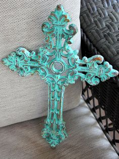 Cross wall decor green cast iron by ThePaintedPigDecor on Etsy, $14.00