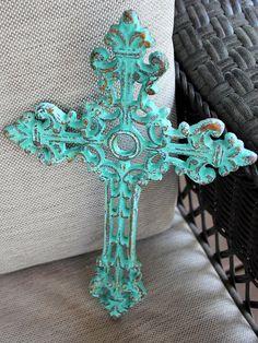 Cross wall decor green cast iron