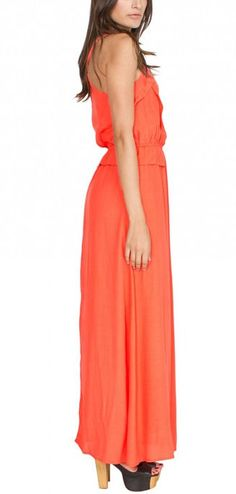 #coral maxi dress. Worn with gold flat sandals and a gold statement necklace. Gorgeous