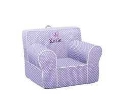 Have it - monogrammed in purple thread. Lavender with White Piping Mini Dot Anywhere Chair #pbkids
