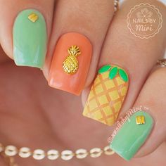 """Pineapple nails Colors: Sally Hansen - Perfect Pear-ing Revlin - Privileged ☀️piCture pOlish - Gelato Sally Hansen - Sweetie (Sugar Coat) Studs and pineapple charm from eBay #pineapplenails #pineapplenailart"" Photo taken by @xnailsbymiri on Instagram, pinned via the InstaPin iOS App! http://www.instapinapp.com (09/24/2015)"