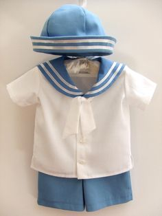Sailor baby boy outfit,  baptism / christening baby boy outfit, boy party suit, ring bearer baby boy, first birthday boy clothes, ice blue. $75.00, via Etsy.