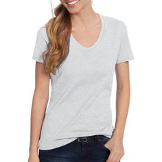 Hanes Women's Lightweight Short Sleeve V-neck T-Shirt, Size: Small, Gray