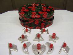 Vintage Metal Oval Picnic Basket & Red Wood Handle Cookie Cutter Lot