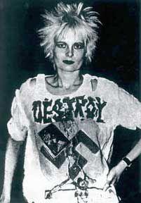 Vivienne Westwood in her punk Destroy t-shirt